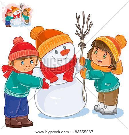 Vector winter illustration of a little girl and boy making a snowman. Print for T-shirts, template for greeting cards, postage stamps