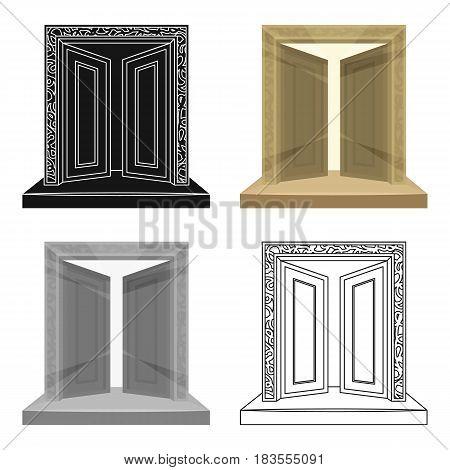 Gates to Valhalla icon in cartoon design isolated on white background. Vikings symbol stock vector illustration.