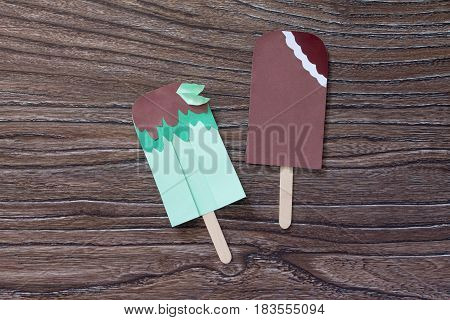 Creates A Child The Gift Of Paper And Chocolate Ice Cream Mint Ice Cream. Made By Hand. The Project