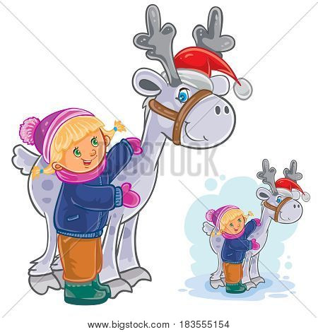 Vector winter Christmas, New Year illustration of little girl hugging deer Santa Claus. Print, template for greeting cards, postage stamps
