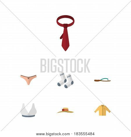Flat Dress Set Of Foot Textile, Beach Sandal, Brasserie Vector Objects. Also Includes Woman, Textile, Underwear Elements.