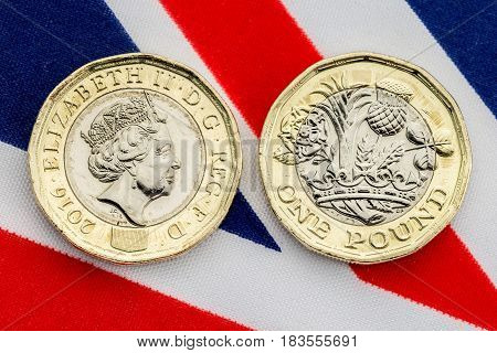 New Uk Pound Coin Detail Of Heads And Tails.