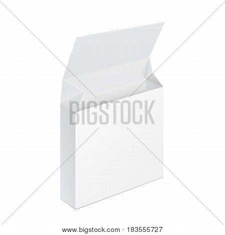 White Opened Product Cardboard Package Box. Illustration Isolated On White Background. Mock Up Template Ready For Your Design. Vector EPS10