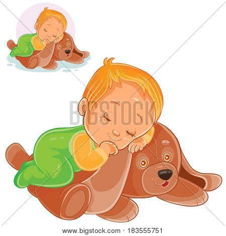 Vector illustration of a little baby asleep on a plush dog. Print