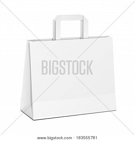 Wide Carrier Paper Bag White. Illustration Isolated On White Background. Mock Up Template Ready For Your Design. Product Packing Vector EPS10