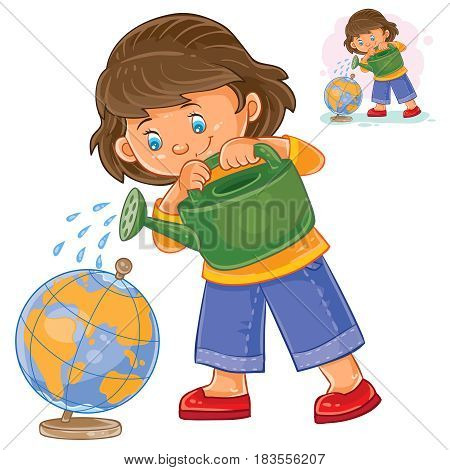 Vector illustration of a little girl watering a globe from a watering can. The concept of environmental protection. Print