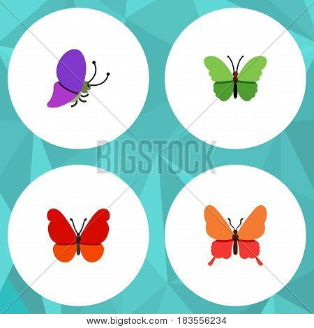 Flat Monarch Set Of Milkweed, Summer Insect, Monarch And Other Vector Objects. Also Includes Butterfly, Moth, Monarch Elements.