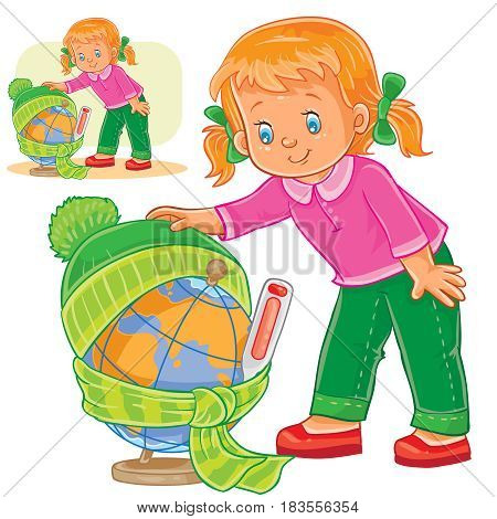 Vector illustration of a little girl measuring the temperature of a globe and dressing it in warm clothes, concept of environmental protection. Print