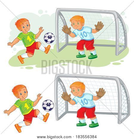 Vector illustration of two little boys playing soccer. Goalkeeper stands at goal and prepares to catch the ball