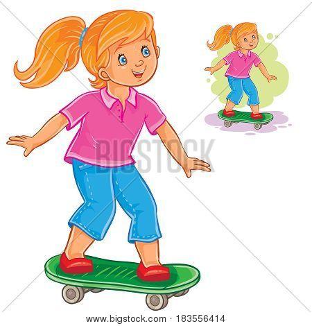 Vector illustration of little girl skateboarding. Print
