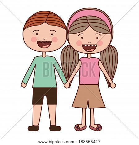 color silhouette smile expression cartoon brown boy hair and girl pigtails hairstyle with taken hands vector illustration
