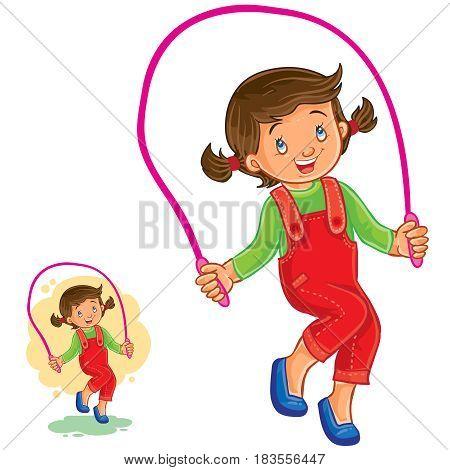 Vector illustration of little girl jumping rope. Print