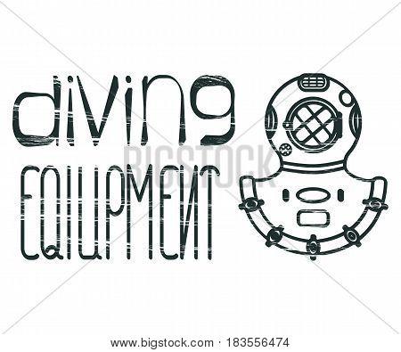 Design logo with lettering diving equipment and divers helmet. Vector illustration eps 10