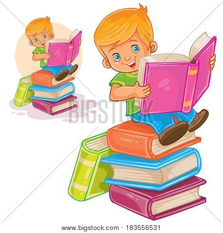 Vector illustration of a little boy is sitting on a pile of books and reading another book. Print