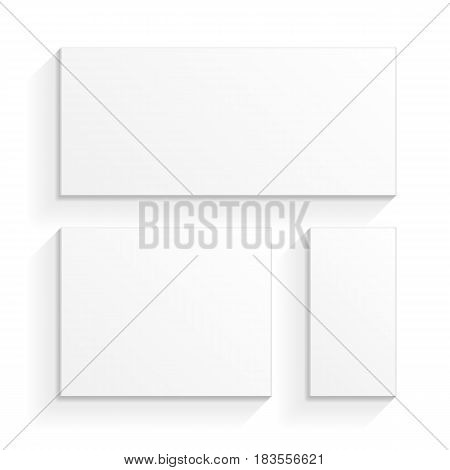 White Product Cardboard Package Boxes. Top View. Illustration Isolated On White Background. Mock Up Template Ready For Your Design. Vector EPS10