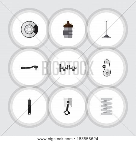 Flat Auto Set Of Combustion, Metal, Car Segment And Other Vector Objects. Also Includes Belt, Metal, Steel Elements.