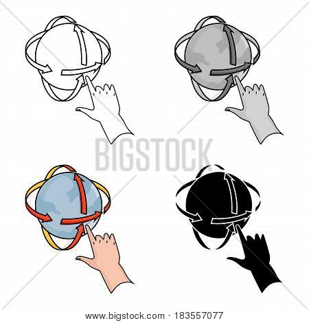 Rotation of globe in virtual reality icon in cartoon style isolated on white background. Virtual reality symbol vector illustration.