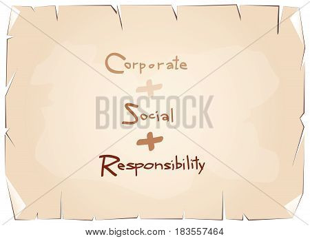 Business Concepts, Orange Paper with CSR Abbreviation or Corporate Social Responsibility Achieve Notes on Old Antique Vintage Grunge Paper Texture Background.