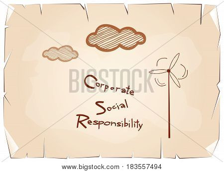 Business Concepts, Blue Paper with CSR Abbreviation or Corporate Social Responsibility Achieve Notes on Old Antique Vintage Grunge Paper Texture Background.