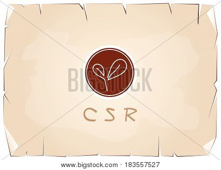 Business Concepts, Green Plant with CSR Abbreviation or Corporate Social Responsibility Achieve Notes on Old Antique Vintage Grunge Paper Texture Background.