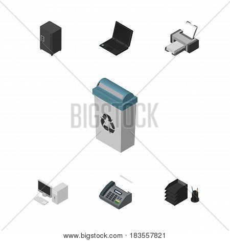 Isometric Office Set Of Strongbox, Laptop, Computer And Other Vector Objects. Also Includes Locked, Machine, Notebook Elements.