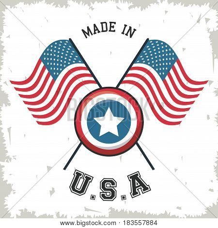 made in USA flag crossed with shield star emblem vector illustration