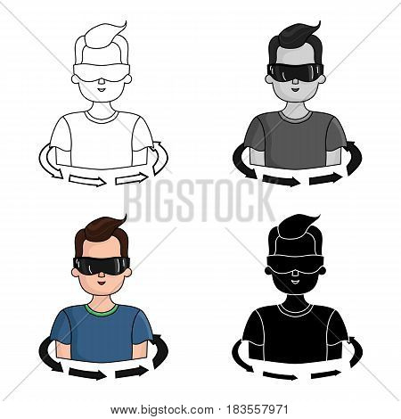 Rotation of player in the virtual reality icon in cartoon style isolated on white background. Virtual reality symbol vector illustration.