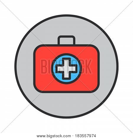 Medical bag filled outline icon round colorful vector sign circular flat pictogram. First aid kit symbol logo illustration