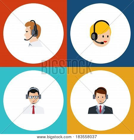 Flat Hotline Set Of Call Center, Help, Telemarketing And Other Vector Objects. Also Includes Center, Service, Hotline Elements.