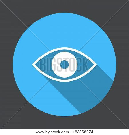 Eye flat icon. Round colorful button circular vector sign with long shadow effect. Flat style design