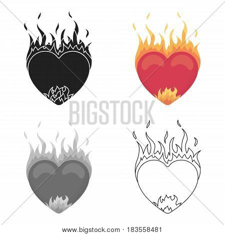 Heart in flame icon in cartoon style isolated on white background. Romantic symbol vector illustration.