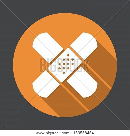 Band aid adhesive bandage flat icon. Round colorful button circular vector sign with long shadow effect. Flat style design