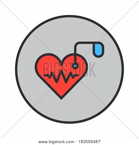 Artificial cardiac pacemaker filled outline icon round colorful vector sign circular flat pictogram. Symbol logo illustration