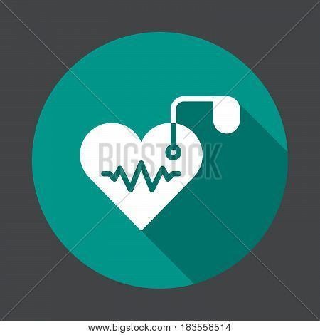 Artificial cardiac pacemaker flat icon. Round colorful button circular vector sign with long shadow effect. Flat style design