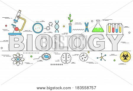 Biology line style illustration design with different elements