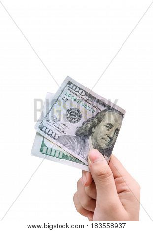 Money in hand isolated on white background with clipping path.