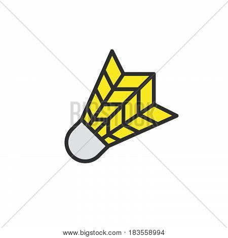 Shuttlecock filled outline line icon line vector sign linear colorful pictogram isolated on white. Badminton Symbol logo illustration. Editable stroke. Pixel perfect