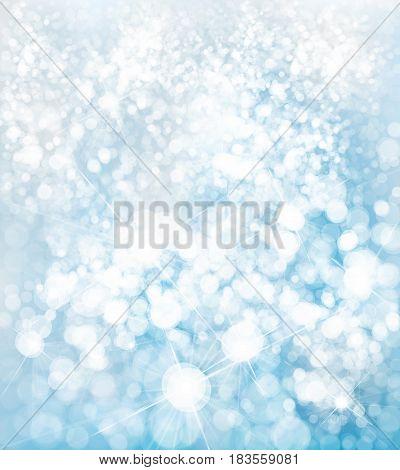Vector winter, blue, bokeh, sparkle background, Christmas background.