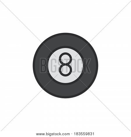 Eight ball pool game filled outline line icon line vector sign linear pictogram isolated on white. Billiard symbol logo illustration. Editable stroke. Pixel perfect