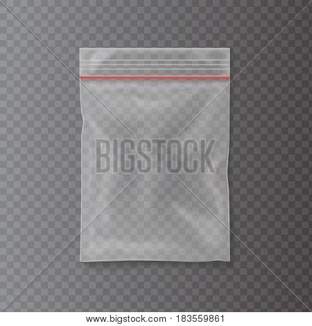 Plastic bag isolated on transparent background. Empty pocket zipper bag. Vector illustration.