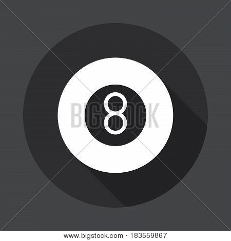 Eight ball pool game flat icon. Round button circular vector sign with long shadow effect. Flat style design