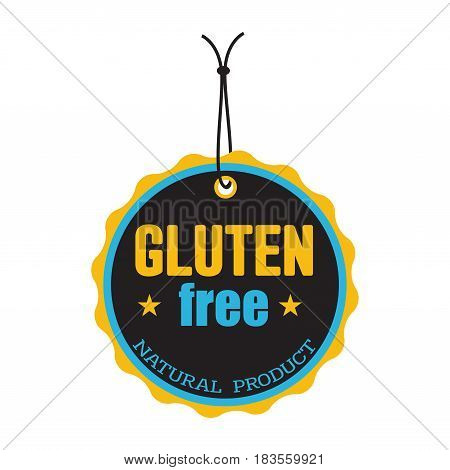 Isolated tag with the text gluten free written inside the tag