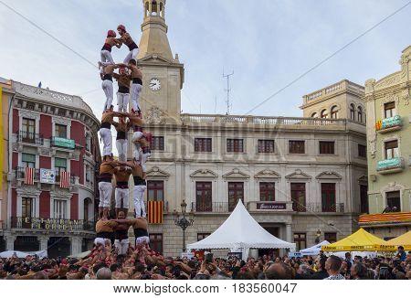 Reus, Spain - April 23, 2017: Castells Performance.
