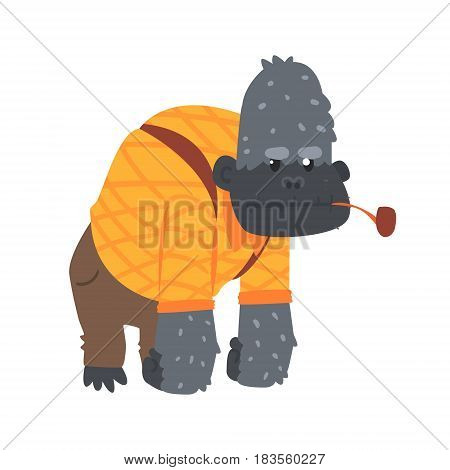 Cute cartoon gorilla in an orange shirt and brown pants and smoking pipe in its mouth. African animal colorful character vector Illustration isolated on a white background
