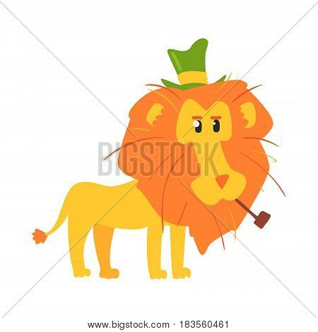 Cute cartoon lion in a green top hat and smoking pipe. African animal colorful character vector Illustration isolated on a white background