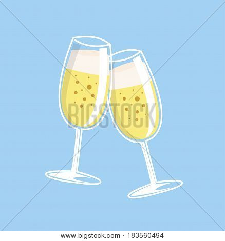 Cheers, two champagne glasses. Wedding champagne. Vector stock.