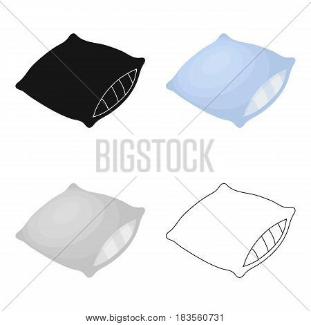 Pillow icon in cartoon design isolated on white background. Sleep and rest symbol stock vector illustration.