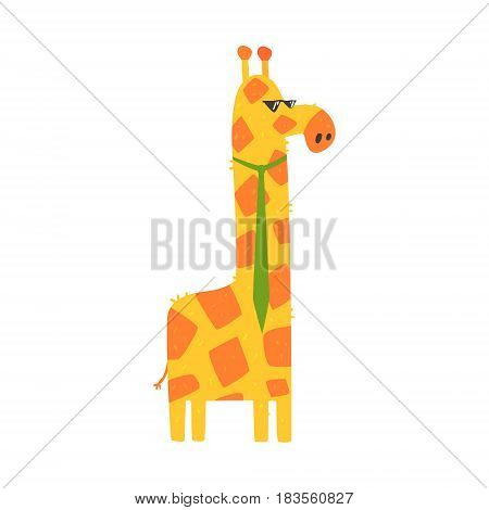 Cute cartoon giraffe with green tie. African animal colorful character vector Illustration isolated on a white background