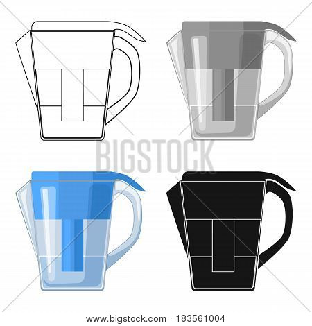Water jug with filter cartridge icon in cartoon design isolated on white background. Water filtration system symbol stock vector illustration.