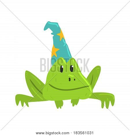 Cute cartoon frog in blue carnival hat with yellow strars. Colorful character vector Illustration isolated on a white background